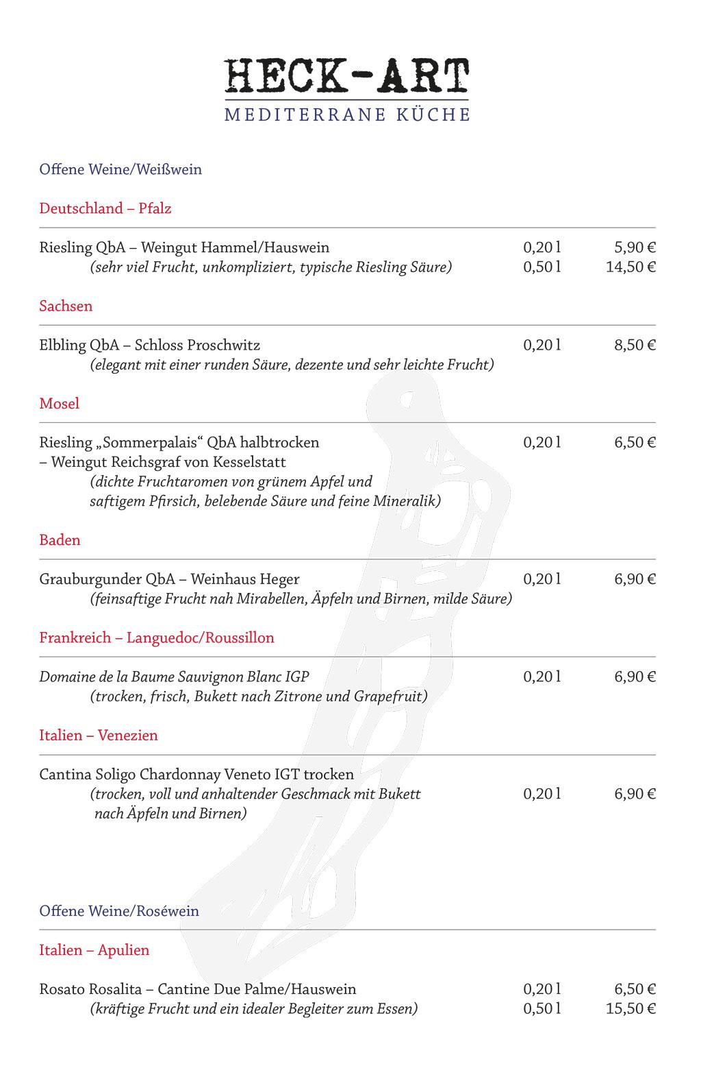 Speisekarte Heck-Art Weißweine